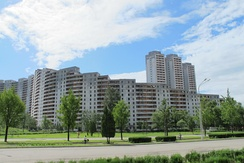 Apartment buildings with green areas