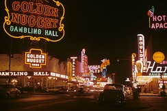 Golden Nugget and Pioneer Club along Fremont Street in 1952