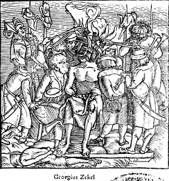 The rebellion of György Dózsa in 1514 spread like lightning in the Kingdom of Hungary where hundreds of manor-houses and castles were burnt and thousands of the gentry killed.[84]