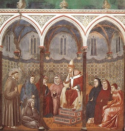 Francis of Assisi Preaching before Honorius III