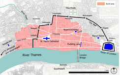 Map showing the extent of the Great Fire of London, which destroyed nearly 80% of the City