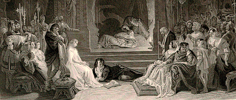 A detail of the engraving of Daniel Maclise's 1842 painting The Play-scene in Hamlet, portraying the moment when the guilt of Claudius is revealed