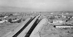 I-15 and US 20 junction at exit 118 in Idaho Falls, Idaho before completion in 1964
