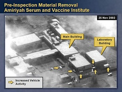 Serum and Vaccine Institute in Al-A'amiriya, Iraq, as imaged by a US reconnaissance satellite in November 2002.