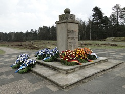 The Jewish Memorial at the site of the former camp, decorated with wreaths on Liberation Day, April 15, 2012