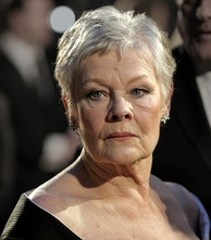 A head-shot of Judi Dench as she looks directly at the camera.