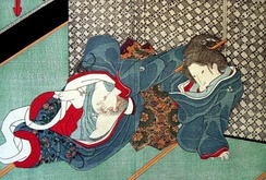 Masturbation was depicted in 19th-century Shunga prints, such as this piece by Kunisada