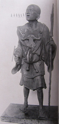 Statue of Kūya by Kōshō, son of Unkei, dating to the first decade of the thirteenth century. The six syllables of the nembutsu, na-mu-a-mi-da-butsu, are represented literally by six small Amida figures streaming from Kūya's mouth.