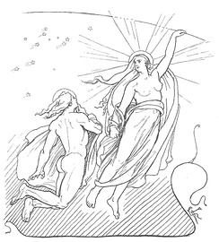 A depiction of Máni, the personified moon, and his sister Sól, the personified sun, from Norse mythology (1895) by Lorenz Frølich
