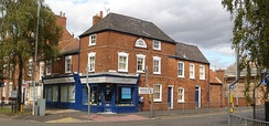 The corner shop where Margaret Thatcher was born, North Parade, Grantham. Location: 52°54′57.09″N 0°38′42.40″W / 52.9158583°N 0.6451111°W / 52.9158583; -0.6451111