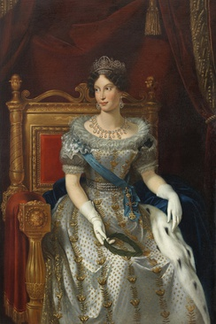 Princess Marie Louise of Austria wearing the light blue sash of the order, 1835