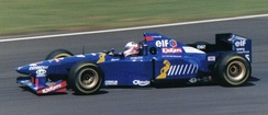 Brundle driving for Ligier at the 1995 British Grand Prix.