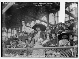 Charles Ebbets' daughter throws out the first pitch, at an exhibition game on April 5, 1913.