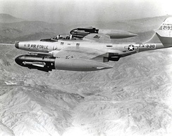 F-89H showing its GAR-1/2 Falcon missiles extended from the wingtip pods