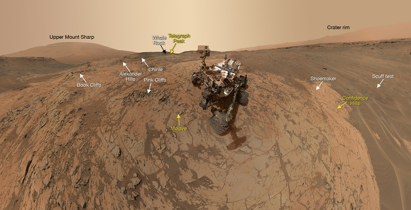 "Panorama of rocks at the ""Mojave"" site on Mount Sharp (January 31, 2015)."