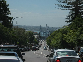 Looking north-north-west down Parnell Road, Ports of Auckland and Waitematā Harbour visible in the distance