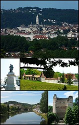 Top:Panorama view of Saint-Front Cathedral in Trélissac Hills, Middle left:Statue of Thomas-Robert Bugeaud in Bugeaud Square, Middle right:Barbadeau Castle (Le château de Barbadeau), Bottom left:Isle River and Saint Georges Bridge (Pont Saint Georges), Bottom right:The tower of Vésone (La tour de Vésone)