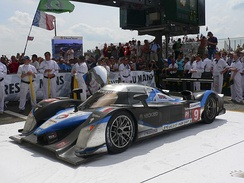Peugeot 908 HDi FAP, car number 9, winner Le Mans 2009, beneath podium