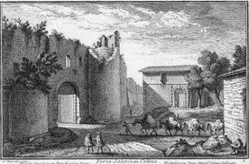 Porta Salaria in an etching by Giuseppe Vasi (18th century).