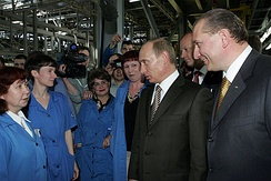 President Vladimir Putin meeting with AvtoVAZ employees in the company's factory in Tolyatti.