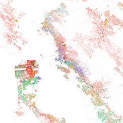 Map of racial distribution in San Francisco Bay Area, 2010 U.S. Census. Each dot is 25 people: White, Black, Asian, Hispanic, or Other (yellow)