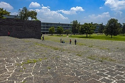 A large outdoor area with blackish-gray stone flooring of irregularly-cut medium-sized panels with mortar between them. Behind them in the distance are a grassy area with trees, buildings, and a blue sky with clouds