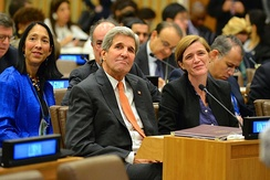 Power with Secretary of State John Kerry at a UN ministerial, October 2, 2015