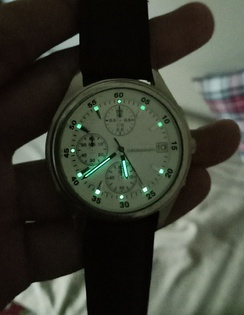 An illuminated watch face, using a luminous compound