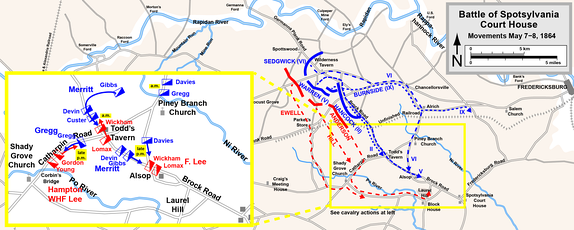 Movements on May 7, 1864; cavalry actions inset .mw-parser-output .legend{page-break-inside:avoid;break-inside:avoid-column}.mw-parser-output .legend-color{display:inline-block;min-width:1.25em;height:1.25em;line-height:1.25;margin:1px 0;text-align:center;border:1px solid black;background-color:transparent;color:black}.mw-parser-output .legend-text{}  Confederate   Union