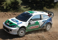 Toni Gardemeister steers his Focus RS WRC 04 through the rugged stages of the 2005 Acropolis Rally