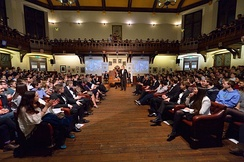 Stephen Fry in the Main Chamber of the Cambridge Union