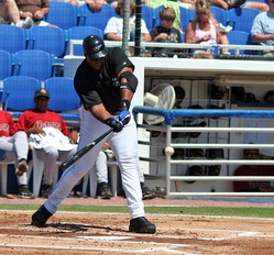 Frank Thomas getting a hit during Spring training in Dunedin, Florida