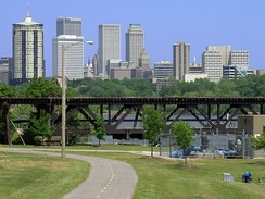 The river parks trail system traverses the banks of the Arkansas River.