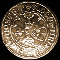 Tvrtko's coin, featuring fleur-de-lis and his coat of arms