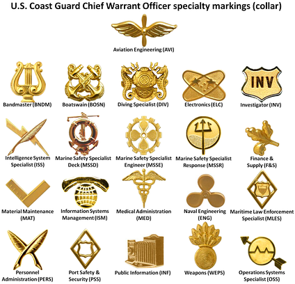 U.S. Coast Guard Chief Warrant Officer specialty insignia worn on the collar and shoulder boards (depicted left)