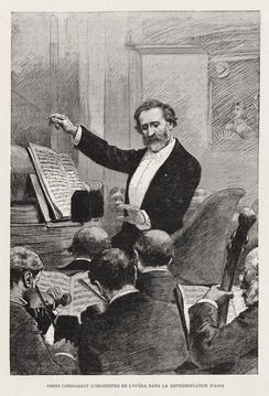 Giuseppe Verdi conducting his opera Aida in 1881