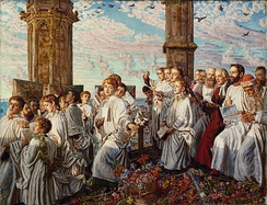 May Morning on Magdalen Tower by William Holman Hunt (1890).