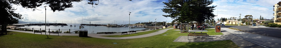 Wollongong Harbour including Belmore Basin, Brighton Beach, the Breakwater Lighthouse and the Head Lighthouse.