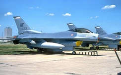 Newly received Block 25 F-16 Fighting Falcons in April 1991.  Note the changeover of tail codes from HF to TH, with both applied to different F-16s parked on the tarmac.
