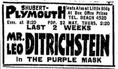 Advertisement for Ditrichstein's appearance at Plymouth Theatre (Boston), 1921
