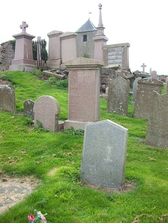 Abernethy's grave (grey granite in foreground)