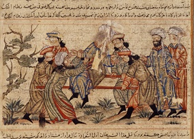 14th-century painting of the successful assassination of Nizam al-Mulk, vizier of the Seljuq Empire, by an Assassin. It is often considered their most significant assassination.