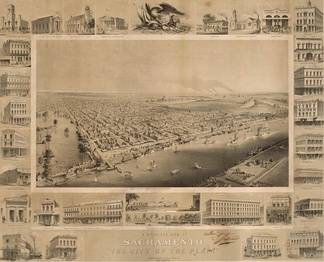 Birds-eye view of Sacramento, ca. 1857