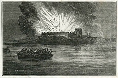 The destruction of Fort Barrancas by the British as they withdraw from Pensacola, November 1814.