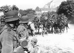 A German cavalry patrol in May 1940, during the Battle of France.