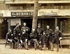 Burnside (seated, center) and officers of the 1st Rhode Island at Camp Sprague, Rhode Island, 1861
