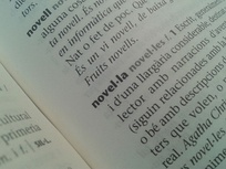"The word novel·la (""novel"") in a dictionary. The geminated L (l·l) is a distinctive character used in Catalan."