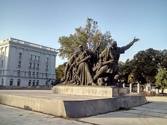 Monument to the Macedonian partisans - Liberators of Skopje, next to the Government building.