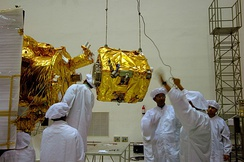 Moon Impact Probe being integrated with Chandrayaan-1 orbiter