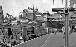 Express train to Hastings in 1957, showing the station roof before its late 1980s reconstruction